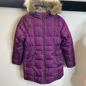 Girl coat zip L jacket hooded fur pink hearts warm